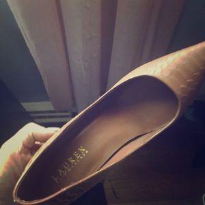 Ralph Lauren brown leather high heels size 9